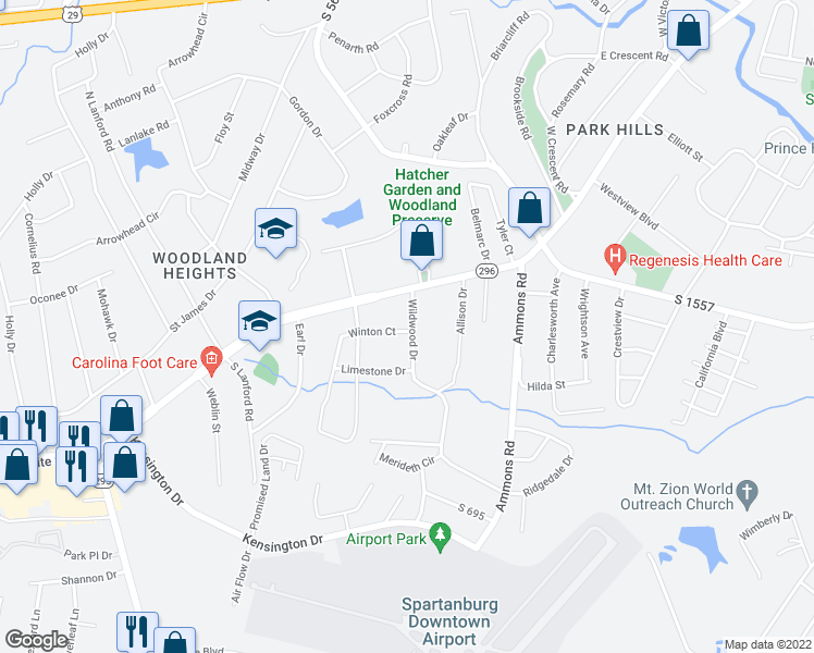 map of restaurants, bars, coffee shops, grocery stores, and more near 513 Wildwood Drive in Spartanburg