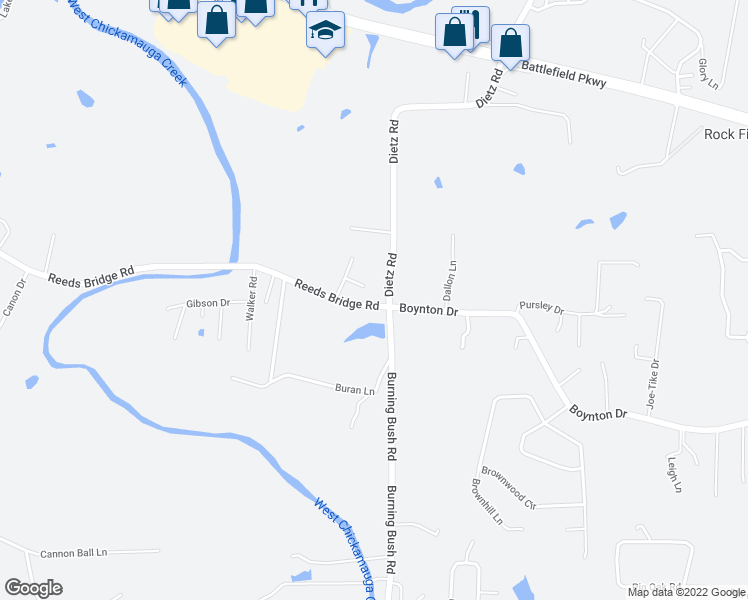 map of restaurants, bars, coffee shops, grocery stores, and more near 60 Battlefield Court in Ringgold