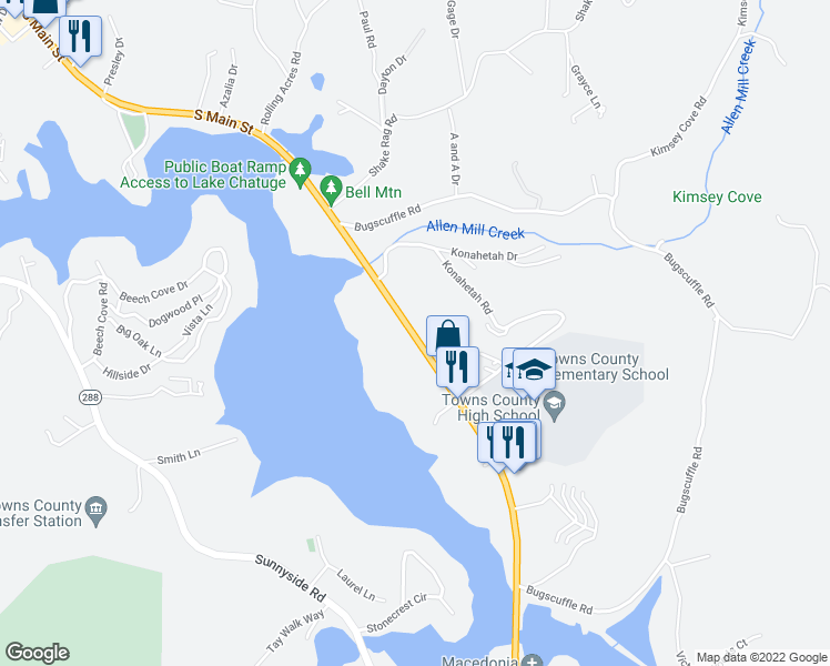 map of restaurants, bars, coffee shops, grocery stores, and more near 27 Highway 76 in Hiawassee