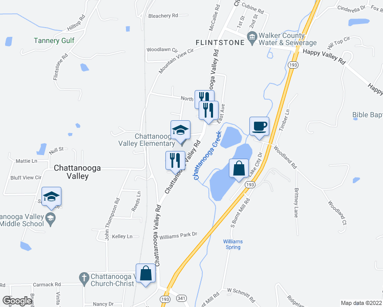 map of restaurants, bars, coffee shops, grocery stores, and more near 3417 Chattanooga Valley Road in Chattanooga Valley