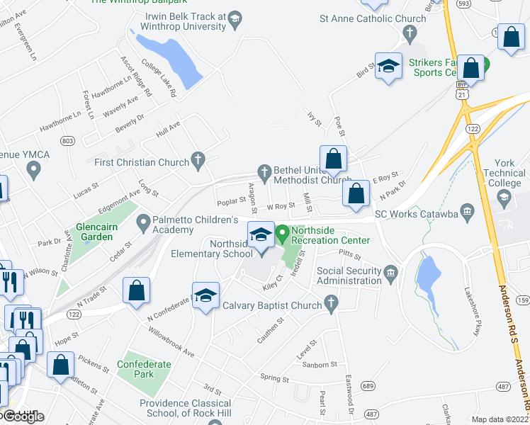 map of restaurants, bars, coffee shops, grocery stores, and more near Aragon Street in Rock Hill
