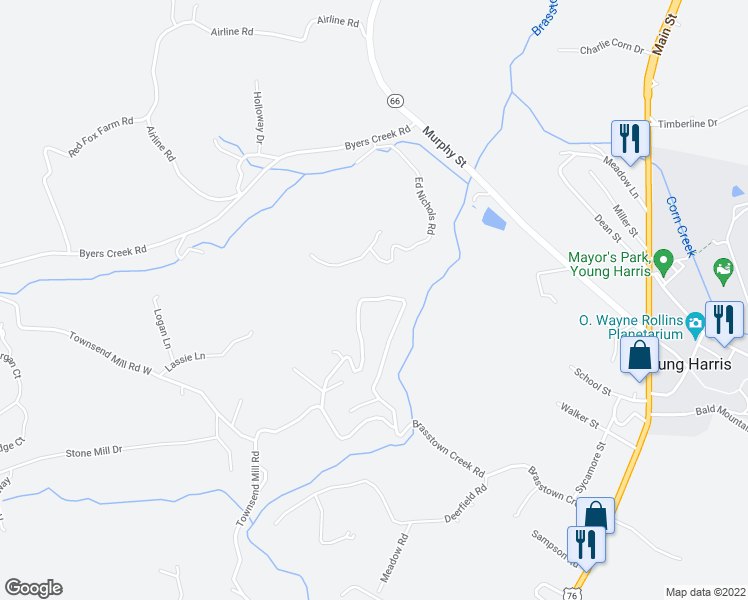 map of restaurants, bars, coffee shops, grocery stores, and more near Brasstown Creek Estates Road in Young Harris