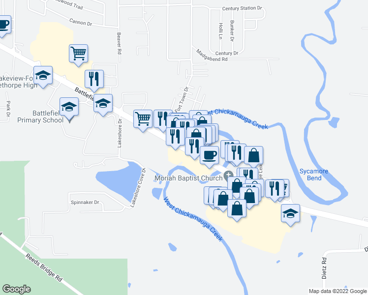 map of restaurants, bars, coffee shops, grocery stores, and more near 2572-2574 Battlefield Parkway in Fort Oglethorpe