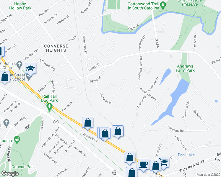 map of restaurants, bars, coffee shops, grocery stores, and more near 517 Audubon Drive in Spartanburg