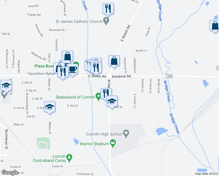 map of restaurants, bars, coffee shops, grocery stores, and more near 1601 North Harper Road in Corinth