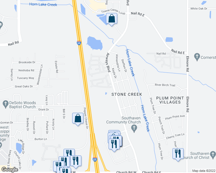 map of restaurants, bars, coffee shops, grocery stores, and more near 6121 Bradford Circle East in Southaven