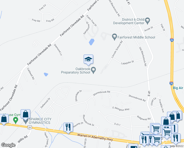 map of restaurants, bars, coffee shops, grocery stores, and more near 190 Lincoln School Road in Spartanburg