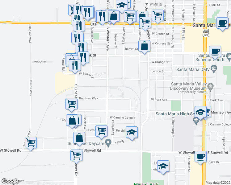 map of restaurants, bars, coffee shops, grocery stores, and more near 740 South Western Avenue in Santa Maria