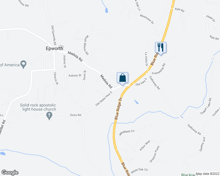 map of restaurants, bars, coffee shops, grocery stores, and more near 21 Madola Road in Blue Ridge