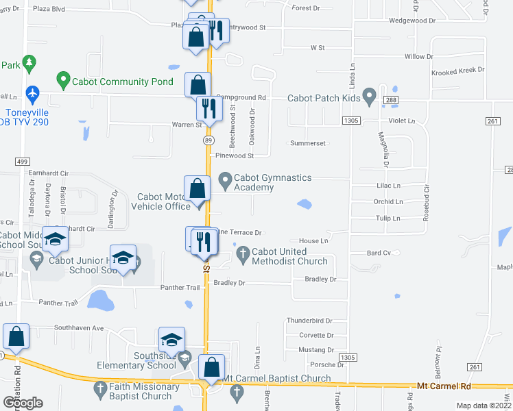 map of restaurants, bars, coffee shops, grocery stores, and more near 15 Knollwood Drive in Cabot