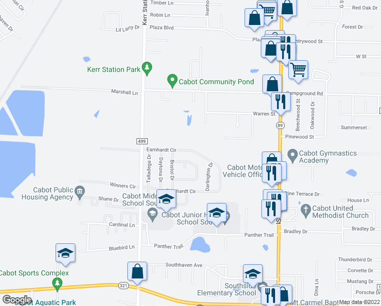 map of restaurants, bars, coffee shops, grocery stores, and more near 88 Earnhardt Circle in Cabot