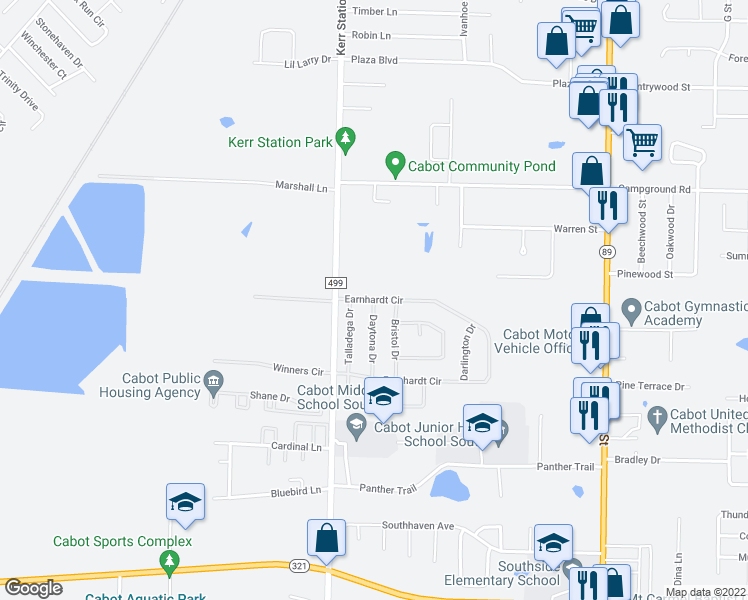 map of restaurants, bars, coffee shops, grocery stores, and more near 101 Earnhardt Circle in Cabot
