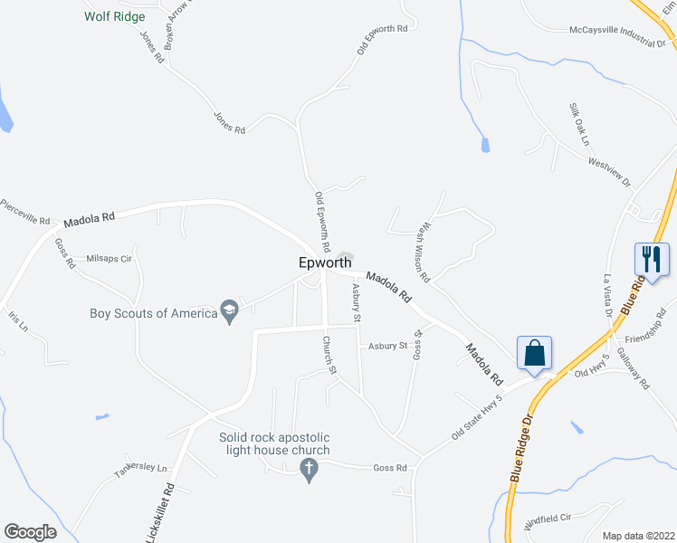 map of restaurants, bars, coffee shops, grocery stores, and more near 174 Deer Watch Lane in Fannin