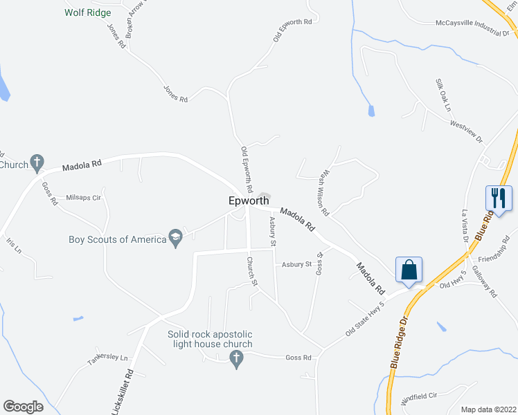 map of restaurants, bars, coffee shops, grocery stores, and more near Trail Tree Drive in McCaysville