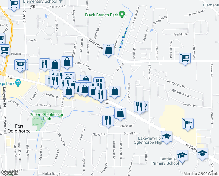map of restaurants, bars, coffee shops, grocery stores, and more near 1832 Fant Drive in Fort Oglethorpe