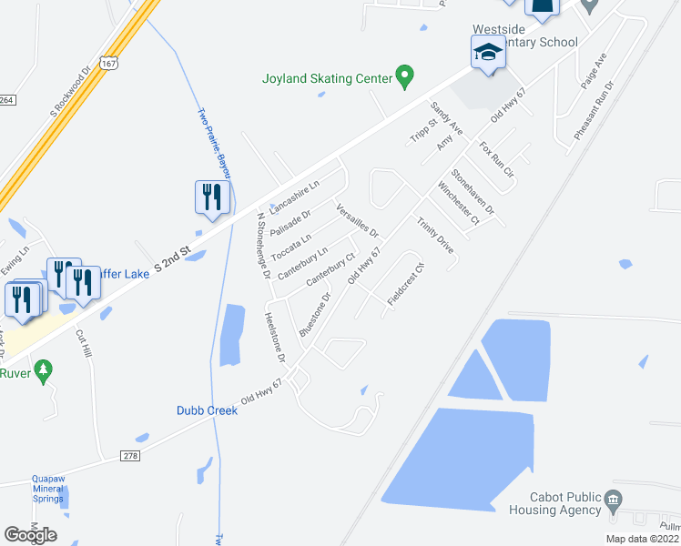 map of restaurants, bars, coffee shops, grocery stores, and more near 2403 Canterbury Cove in Cabot