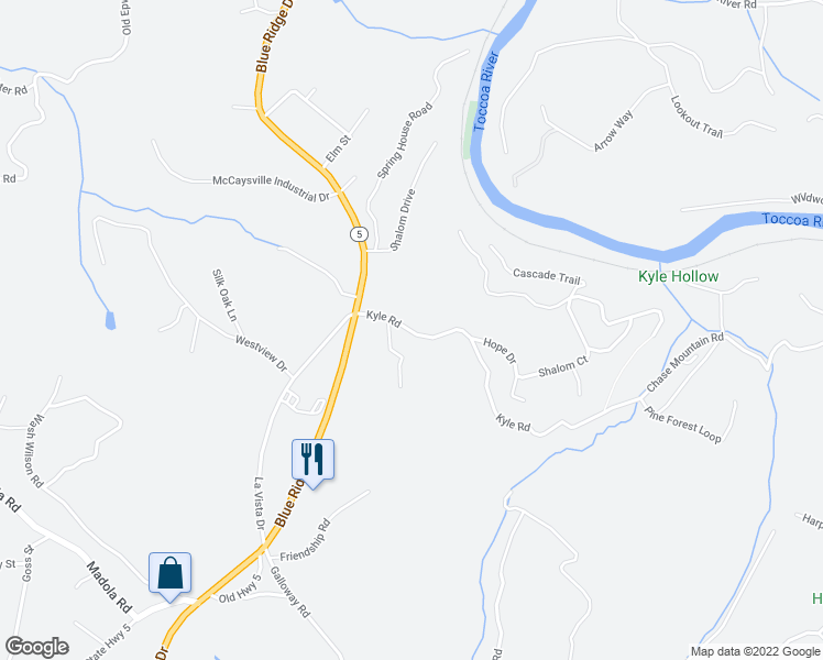 map of restaurants, bars, coffee shops, grocery stores, and more near Kyle Road in Blue Ridge