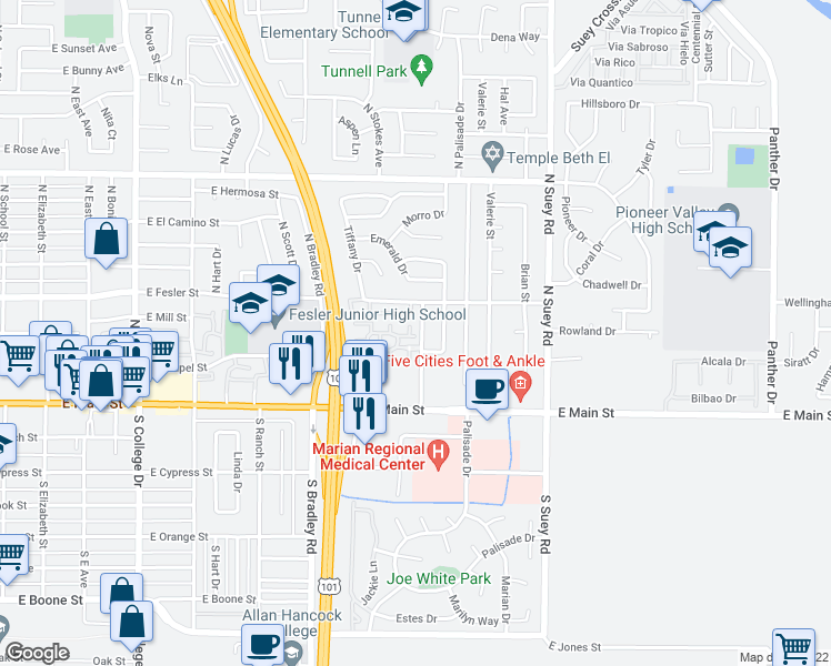 map of restaurants, bars, coffee shops, grocery stores, and more near 1214 Cobblestone Lane in Santa Maria