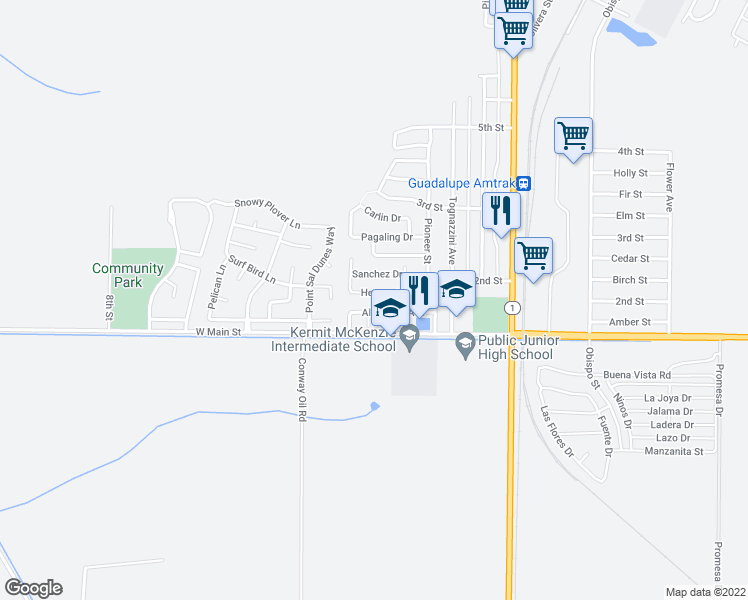 map of restaurants, bars, coffee shops, grocery stores, and more near 4848 Hernandez Dr in Guadalupe