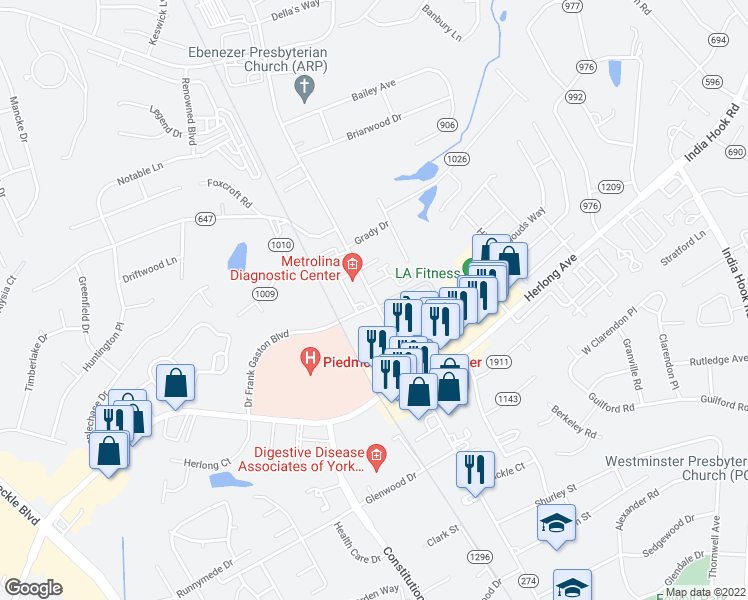 map of restaurants, bars, coffee shops, grocery stores, and more near 1773 Ebenezer Road in Rock Hill