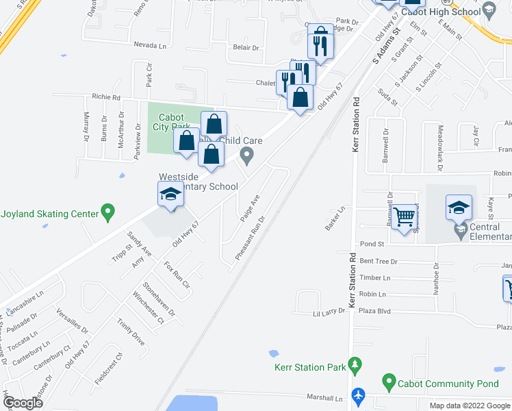 map of restaurants, bars, coffee shops, grocery stores, and more near 36 Paige Avenue in Cabot