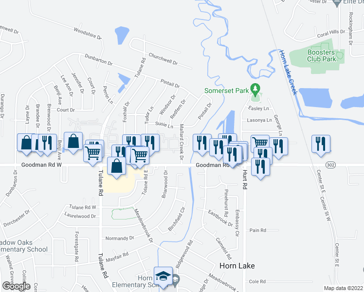 map of restaurants, bars, coffee shops, grocery stores, and more near 7100-7178 Mallard Creek Drive in Horn Lake