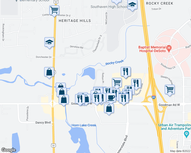 map of restaurants, bars, coffee shops, grocery stores, and more near 1000 Sutton Place in Horn Lake
