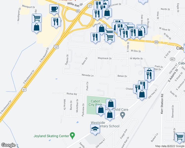 map of restaurants, bars, coffee shops, grocery stores, and more near 46 Nevada Lane in Cabot