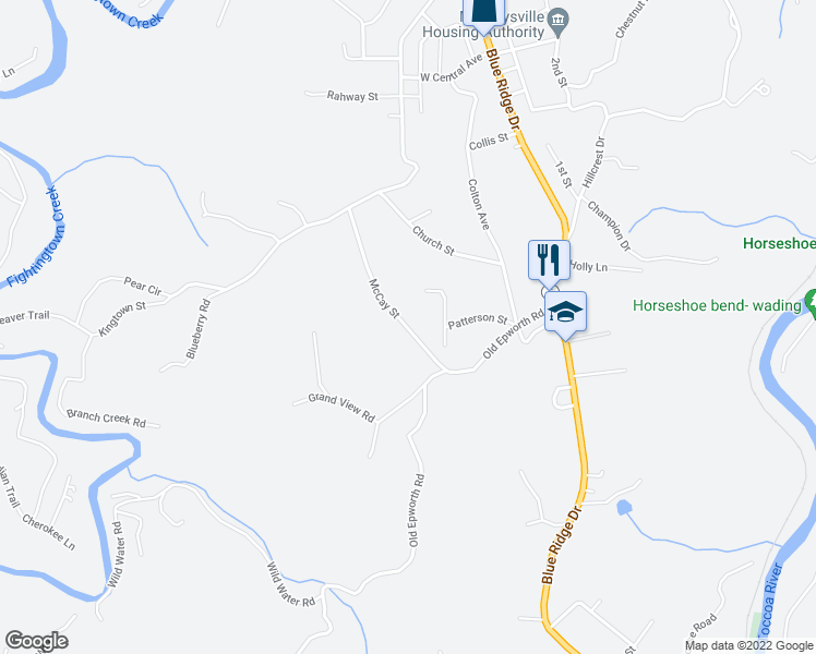 map of restaurants, bars, coffee shops, grocery stores, and more near McCay Street in Blue Ridge