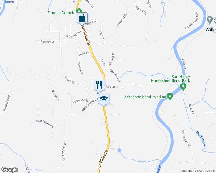 map of restaurants, bars, coffee shops, grocery stores, and more near 40 Holly Lane in McCaysville