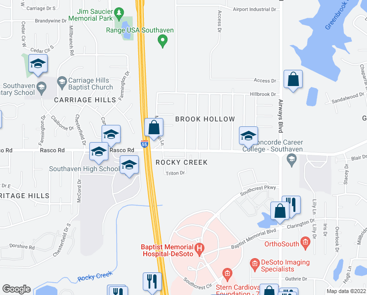 map of restaurants, bars, coffee shops, grocery stores, and more near 494 Rasco Road West in Southaven