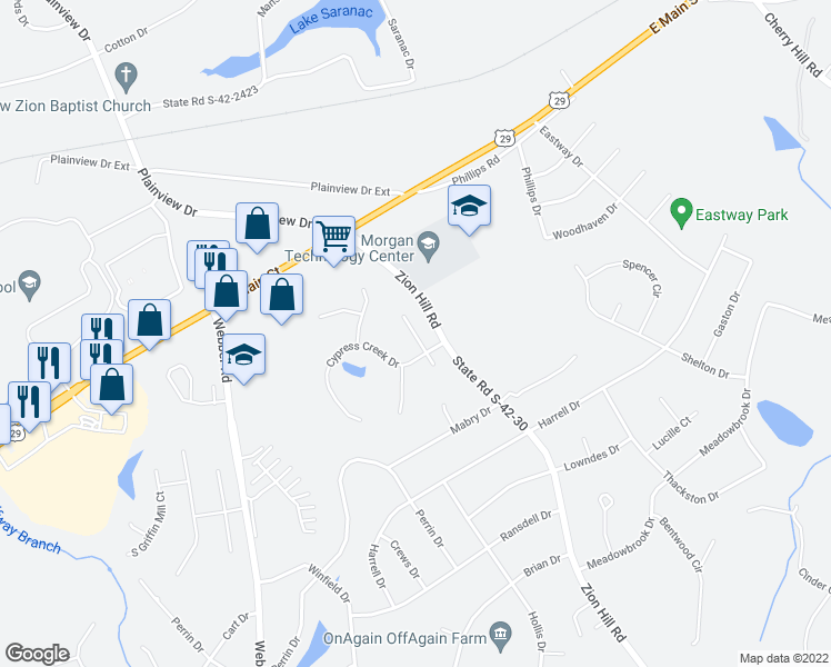 map of restaurants, bars, coffee shops, grocery stores, and more near Cypress Lane in Spartanburg