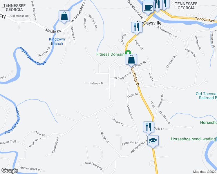 map of restaurants, bars, coffee shops, grocery stores, and more near 428 Kingtown Street in McCaysville