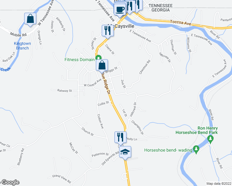map of restaurants, bars, coffee shops, grocery stores, and more near 27 1st Street in McCaysville