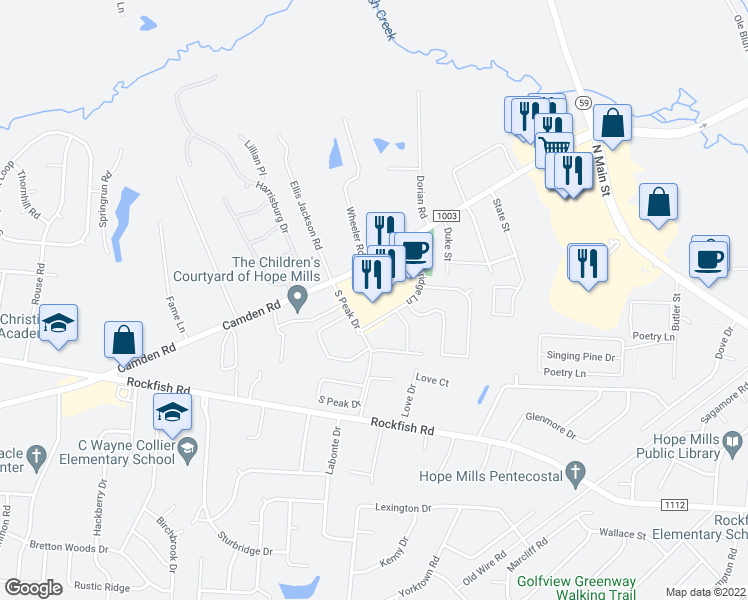map of restaurants, bars, coffee shops, grocery stores, and more near 3511 Birchfield Court in Fayetteville