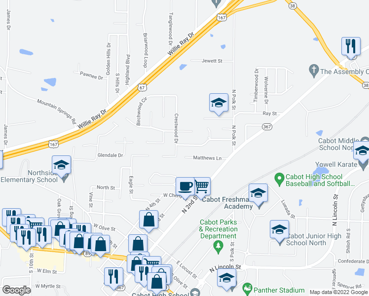 map of restaurants, bars, coffee shops, grocery stores, and more near 15 Crestwood Drive in Cabot