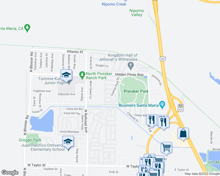 map of restaurants, bars, coffee shops, grocery stores, and more near 507 Empire Dr in Santa Maria