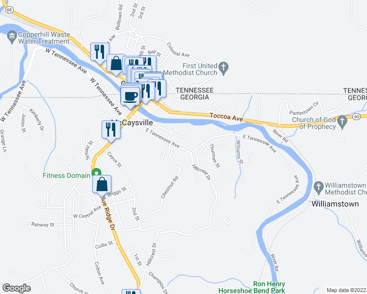 map of restaurants, bars, coffee shops, grocery stores, and more near 439 East Tennessee Avenue in McCaysville