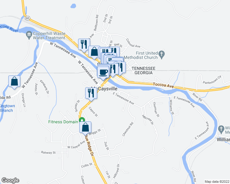 map of restaurants, bars, coffee shops, grocery stores, and more near 119 East Tennessee Avenue in McCaysville