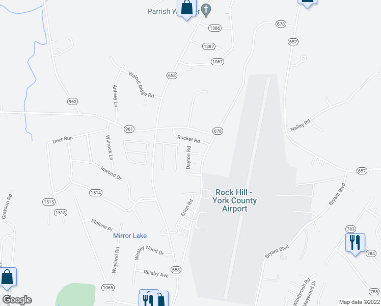 map of restaurants, bars, coffee shops, grocery stores, and more near 217 Otman Court in Rock Hill