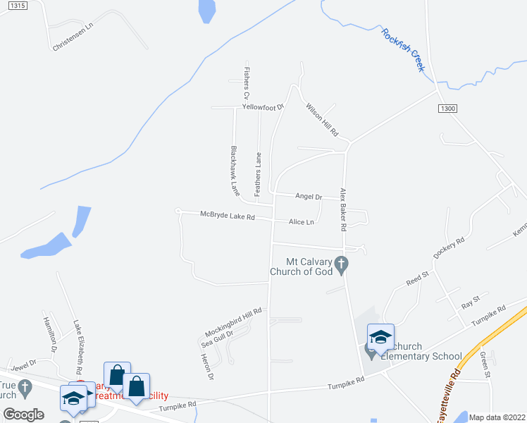map of restaurants, bars, coffee shops, grocery stores, and more near 137 Blackhawk Lane in Raeford