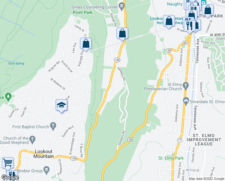 map of restaurants, bars, coffee shops, grocery stores, and more near 535 Winterview Ln in Chattanooga