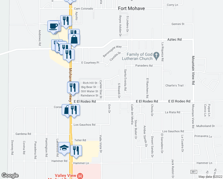 map of restaurants, bars, coffee shops, grocery stores, and more near 1627 Segovia Way in Fort Mohave