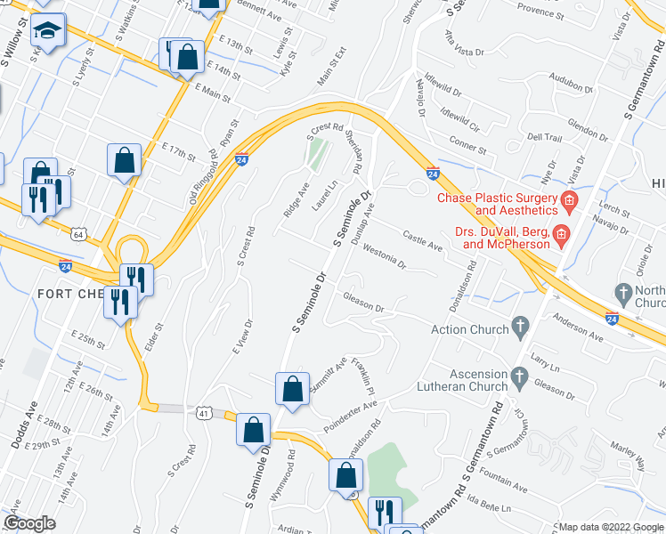 map of restaurants, bars, coffee shops, grocery stores, and more near 606 South Seminole Drive in Chattanooga