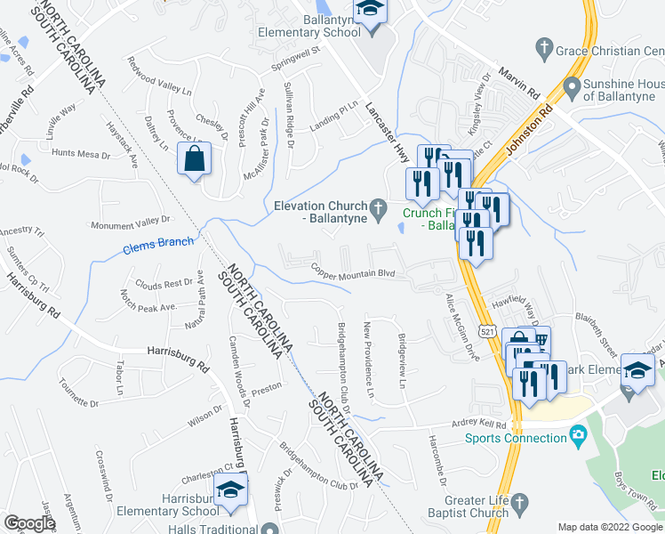 map of restaurants, bars, coffee shops, grocery stores, and more near 17178 Red Feather Drive in Charlotte
