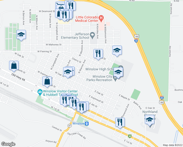 map of restaurants, bars, coffee shops, grocery stores, and more near 801 North Williamson Avenue in Winslow
