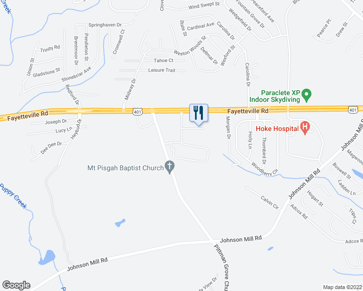 map of restaurants, bars, coffee shops, grocery stores, and more near Stone Gate Drive in Raeford