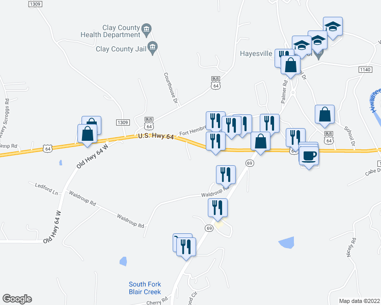 map of restaurants, bars, coffee shops, grocery stores, and more near 92 Mountain Harbour Drive in Hayesville