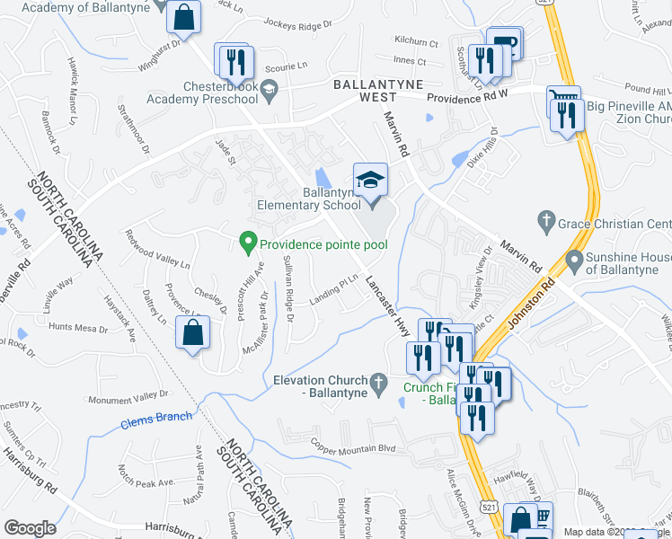 map of restaurants, bars, coffee shops, grocery stores, and more near 15640 Lancaster Highway in Charlotte