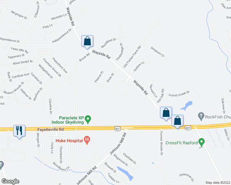map of restaurants, bars, coffee shops, grocery stores, and more near 129 Quail Ridge Drive in Raeford